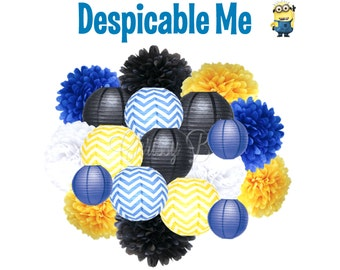 DESPECIABLE ME Deluxe Party Decorations - Paper Lantern & Tissue Pom Kit - Yellow and Blue Chevron, Black, White - Minions Birthday Party