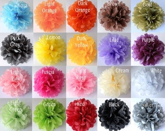 18 Paper Pompoms Baby Shower Tissue Paper Pompoms Wedding Decorations Pom Poms Bridal Shower Party Decorations Tissue Pom Poms Paper Flowers