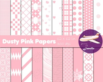 Dusty Pink Digital Papers for Scrapbooking, Card Making, Paper Crafts and Invitations