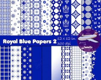 Royal Blue Digital Papers 2 for Scrapbooking, Card Making, Paper Crafts and Invitations