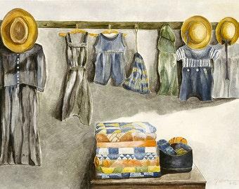 Watercolor Fine Art Print from Original - Denim Dress