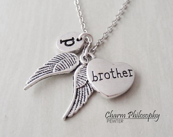 Brother Angel Wings Necklace - Memorial Jewelry - In Memory of Necklace - Monogram Personalized Initial and Birthstone - Sympathy Gift