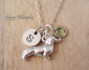 Dachshund Necklace - Monogram Personalized Initial and Birthstone - Wiener Dog Pendant