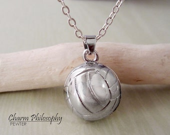 Volleyball Necklace - 3D Sphere Volleyball Pendant - Silver Jewelry