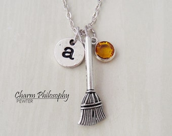 Broom Necklace - Witches Broom Jewelry - Antique Silver Jewelry - Monogram Personalized Initial and Birthstone