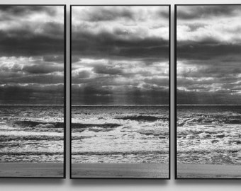 "Ocean Seascape Black and White Photograph Mounted on Three Wood Panels that  ""Float"" from the Wall"