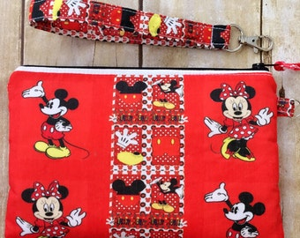 Disney wristlet purse, zippered wristlet pouch, Mickey and Minnie Mouse