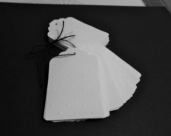 Embossed Gift Tags - White Tags - Gift Embellishment - Favor Tag - Price Tag - Wedding Favor - Bridal Gifts - Shower Gifts - You Choose