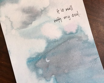It Is Well With My Soul Night Sky Quote Watercolor Painting Postcard Art Inspirational