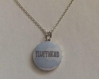Phish pendant fabric button necklace //  Fluffhead
