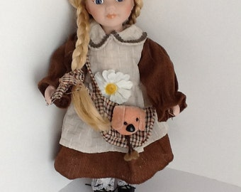 """12"""" Blond Braided Scottish look Porcelain Doll with Doggie Bag, dress pantaloons and shoes."""