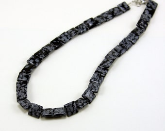 Gemstone Necklace Snowflake Obsidian Square Beads