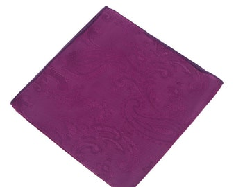 Deep Lilac  Paisley Pocket Square.Lilac Wedding Pocket Square.Silk handkerchief