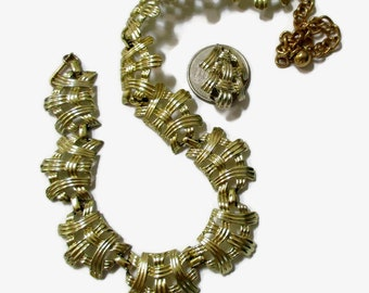 CORO Necklace Earring Set, Vintage Gold Tone Weave, Signed Mid Century Jewelry, 1950s-1960s, Demi Parure