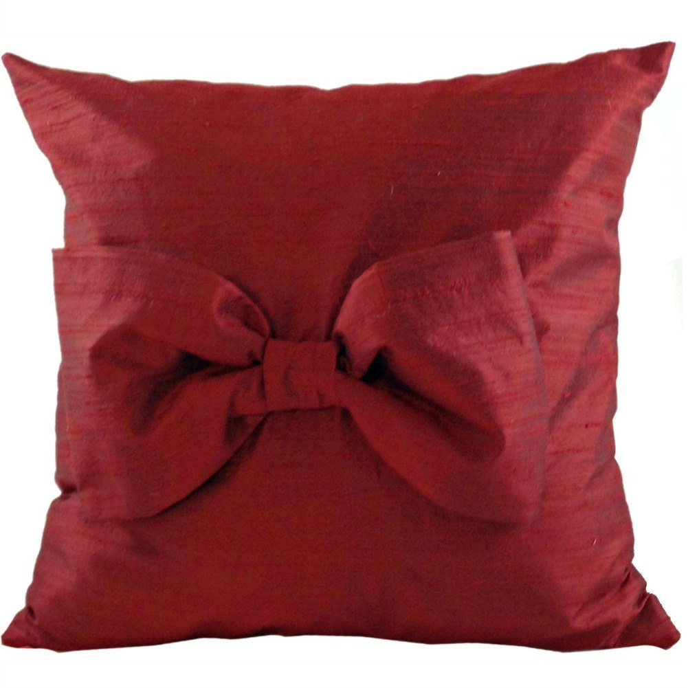Throw Pillow With Bow : SILK Red Throw Pillow with Bow for Couch or Bedroom 16 x 16
