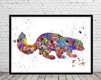 Wolverine animal, Wolverine print, wild animal, watercolor print, animal painting, animal art  (2227b)