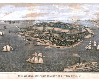 Fort Monroe, Old Point Comfort and Hygeia Hotel, Virginia Va.  Reproduction aerial view vintage map.  Available in different size.