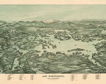 Map of Lake Winnipesaukee, NH New Hampshire. 1903.  Including Mt. Washington & Mt. Lafayette.  Vintage restoration home Deco reproduction
