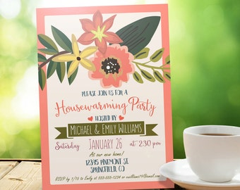 Floral Housewarming Invitation - Personalized Printable DIGITAL FILE - Housewarming Party Invitation