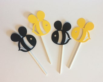Bee Cupcake Toppers Set Of 12 Themed Baby Shower Decorations