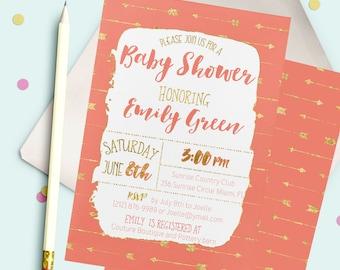 Southwestern Baby Shower Invitation Shabby Baby Shower Invitation printable Coral pink arrow Baby Shower Invitation Tribal New baby idbs15