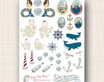 Sea Shanty Planner Stickers | 32 Stickers Total | #SD06