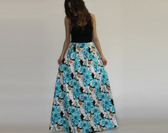 Maxi floral skirt, Blue printed skirt, Hight waist skirt, Pleated floral skirt, Long printed skirt, Maxi skirt