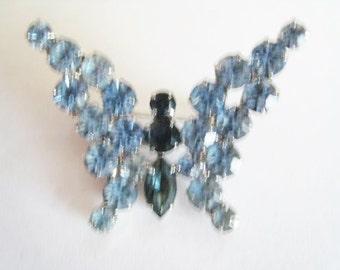 Blue Rhinestone Butterfly