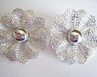 Large Sarah Coventry Silver Tone Clip Earrings
