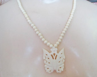 Bone Butterfly Necklace