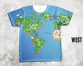 Super Mario World Map T Shirt, All Over Print Shirt, SuperMario Brothers, vintage nintendo shirt, video game tees, gamer gift idea, 90s game