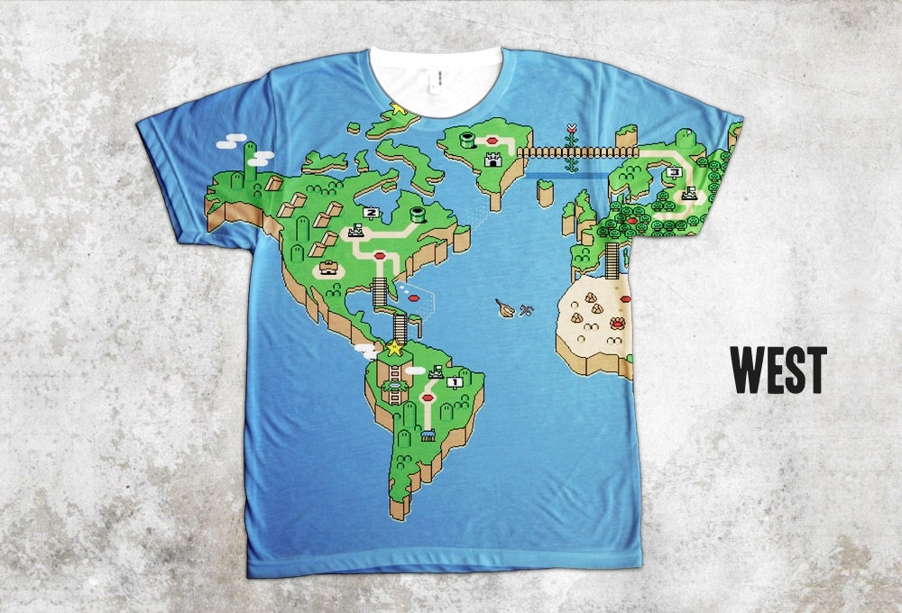 Super Mario World Map T Shirt All Over Print Shirt