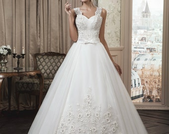 Buy Online Glamorous, Romantic, White/Ivory Wedding Dress with Straps, Princess Ball GOWN, A line, Bridal Dress