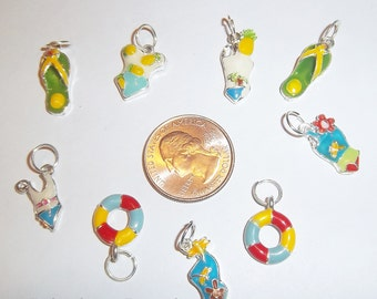 9 Piece lot BEACH Summer THEME Enamel Loose Charms, Silver Plated, Flip Flops, Bathing Suit,Lifesaver Q47
