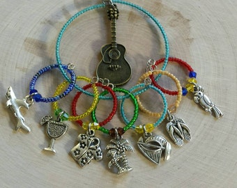 Jimmy buffet inspired wine charms - stemware charms - wine lovers gift - Jimmy buffet lovers gift - drink markers - favors