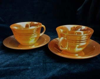 Fire King Peach Luster Lusterware Tea Coffee Cups Saucers