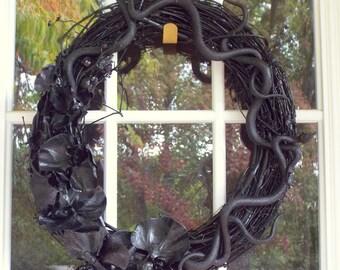 Black Snake Halloween Door Wreath
