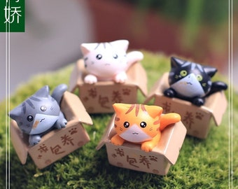 4pc Set Mini Cat in Box Fairy Garden Accessories, Miniature Figurines Succulent Terrarium Suppliers Micro Landscape Home Decoration