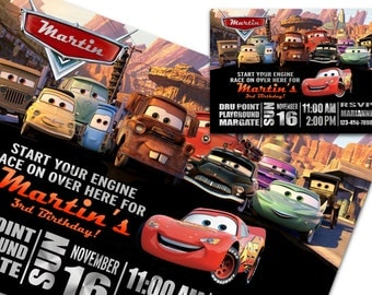 Lightning mcqueen  Birthday Printable Invitation, Cars invitation, Mater invitation