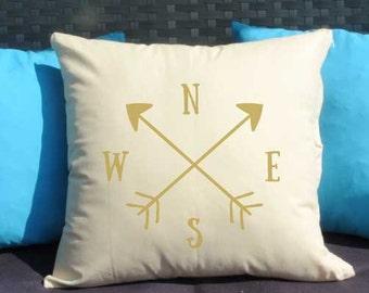 Cushion, Decorative pillow 16x16, Compass pillow, Gold pillow, Home decor, Throw pillow, Pillow cover, Birthday gift idea