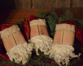 Primitive Handmade Santa Head Hangers ~ Bowl Filler ~ Christmas ~ Winter