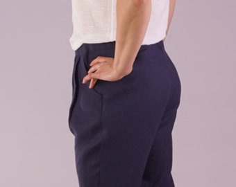 New woman's natural linen handmade trouser's with classical look, pocket's at the side.