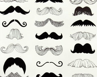 Where's my stache  by Alexander Henry Fabric - By the Yard