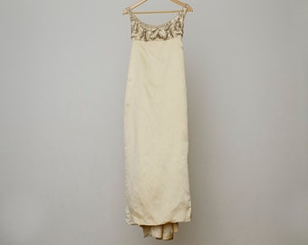 Beautiful vintage Jane Austen Empire style beaded ivory silk wedding gown