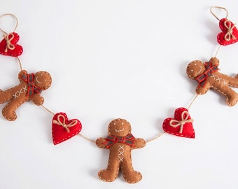 Christmas Gingerbread garland with red felt hearts