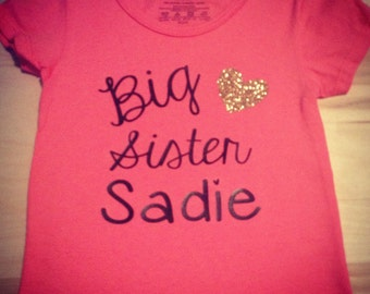 Big Sis Sister T-shirt. Personalized. New baby