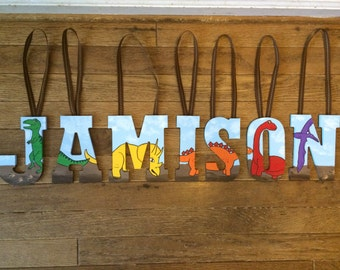 Custom Dinosaur Handpainted Hanging Wooden Letters | To use for Children's Party, Kid's Room Decor, Etc. | Spell a name or word