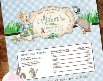 DIGITAL FILE Peter Rabbit Candy Bar Wrapper Birthday or Baby Shower