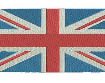 United Kingdom Flag Machine Embroidery Design - 5 sizes, UK Great Britain, British Union Jack instant download machine embroidery pattern
