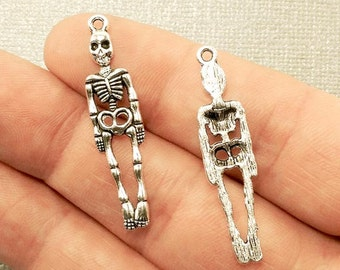 Skeleton Charm. 5 pcs Antique Silver Tone Day of the Dead Skeleton Charms 39x9mm. Skeleton Pendant. Skeleton Jewelry. - (5 - 0025J)
